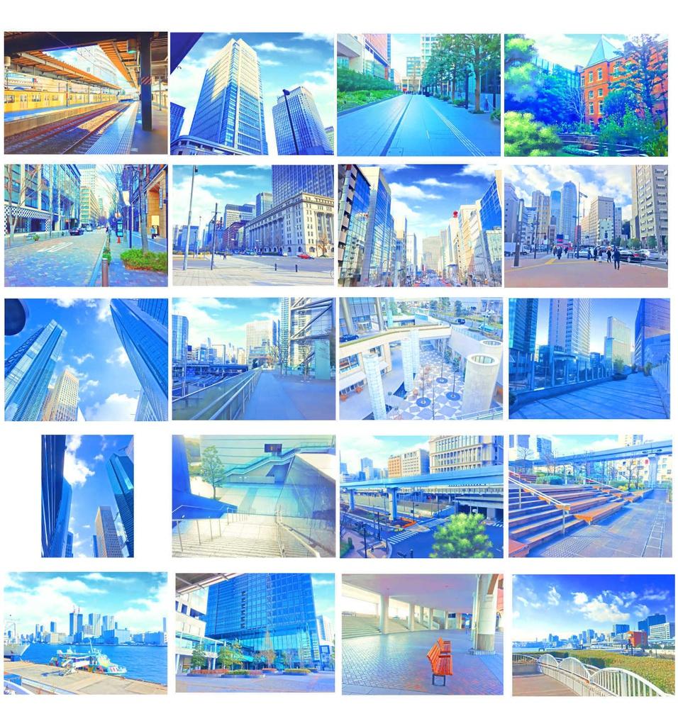 イラスト風&水彩風背景素材集 都会の背景シリーズa - yakumoreo - booth