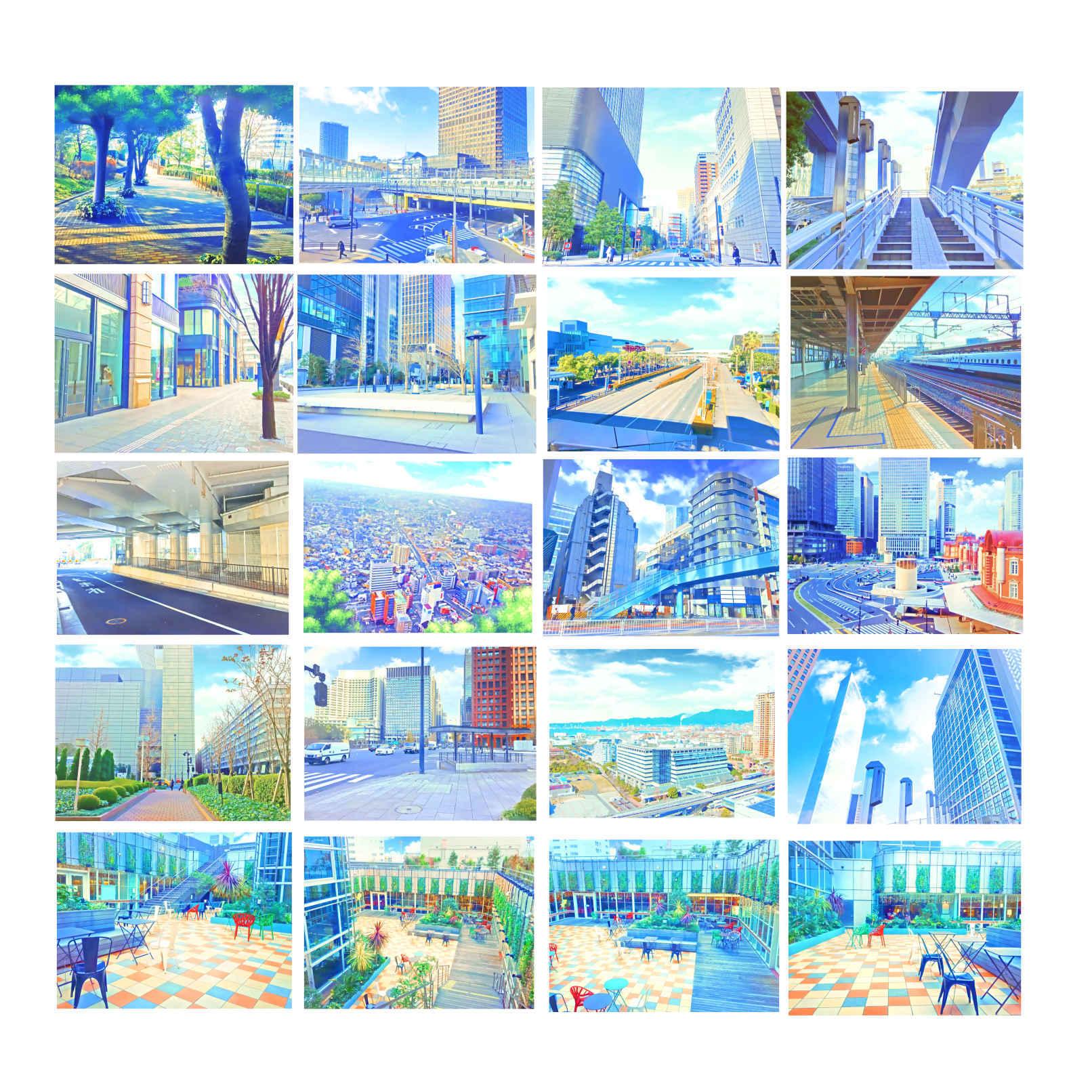 イラスト風&水彩風背景素材集 都会の背景シリーズb - yakumoreo