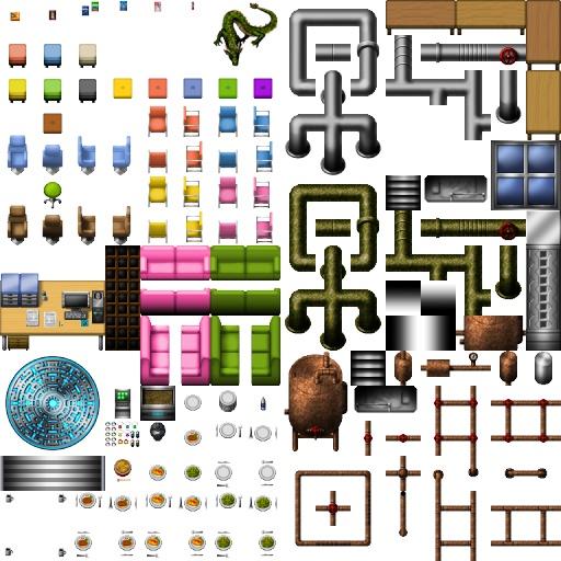 【無料版】現代・SFマップチップ(床、イス、パイプ、皿料理) ツクール・ウディタOK