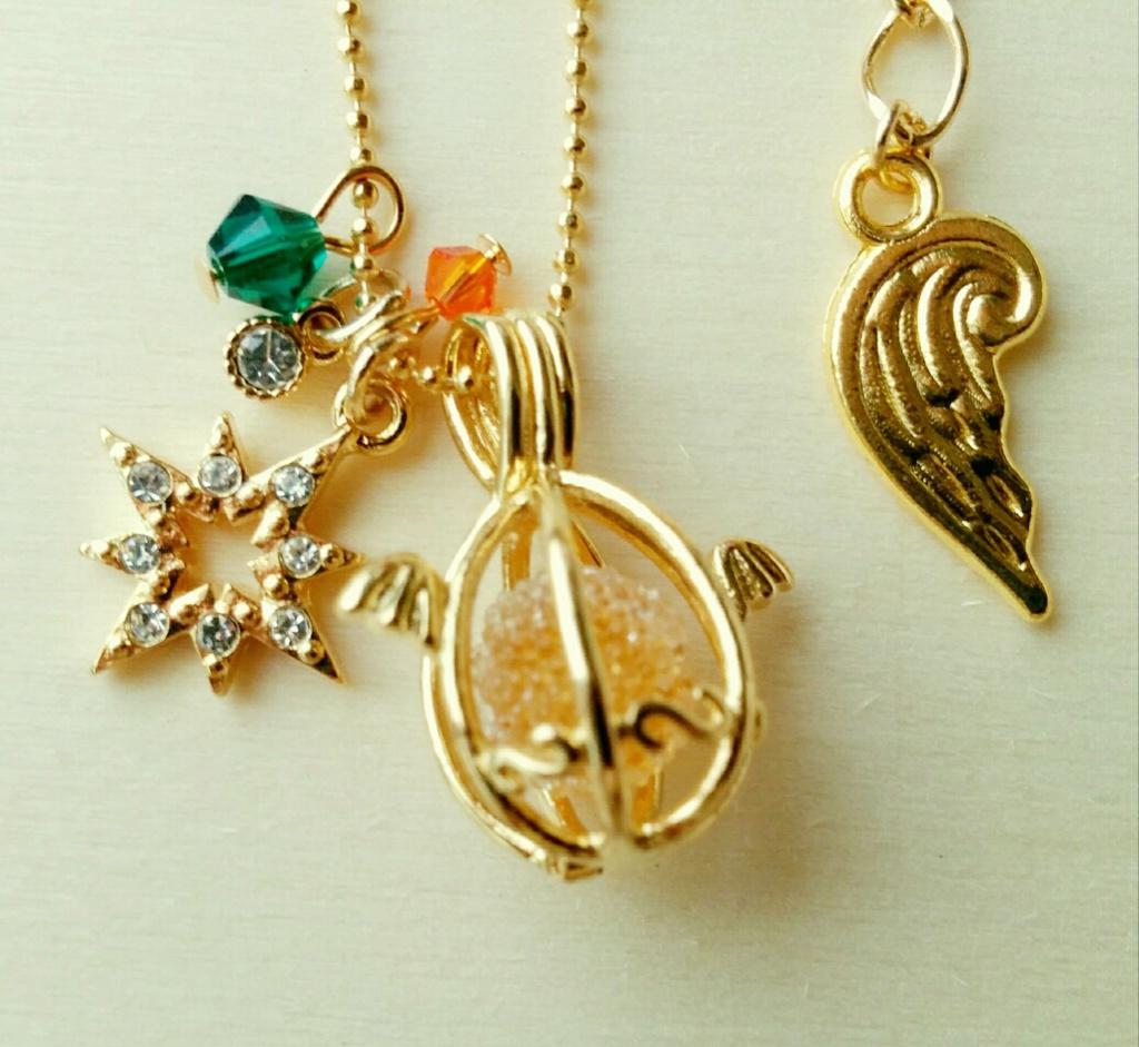 【高緑】天使のたまごネックレス・Aオレンジ