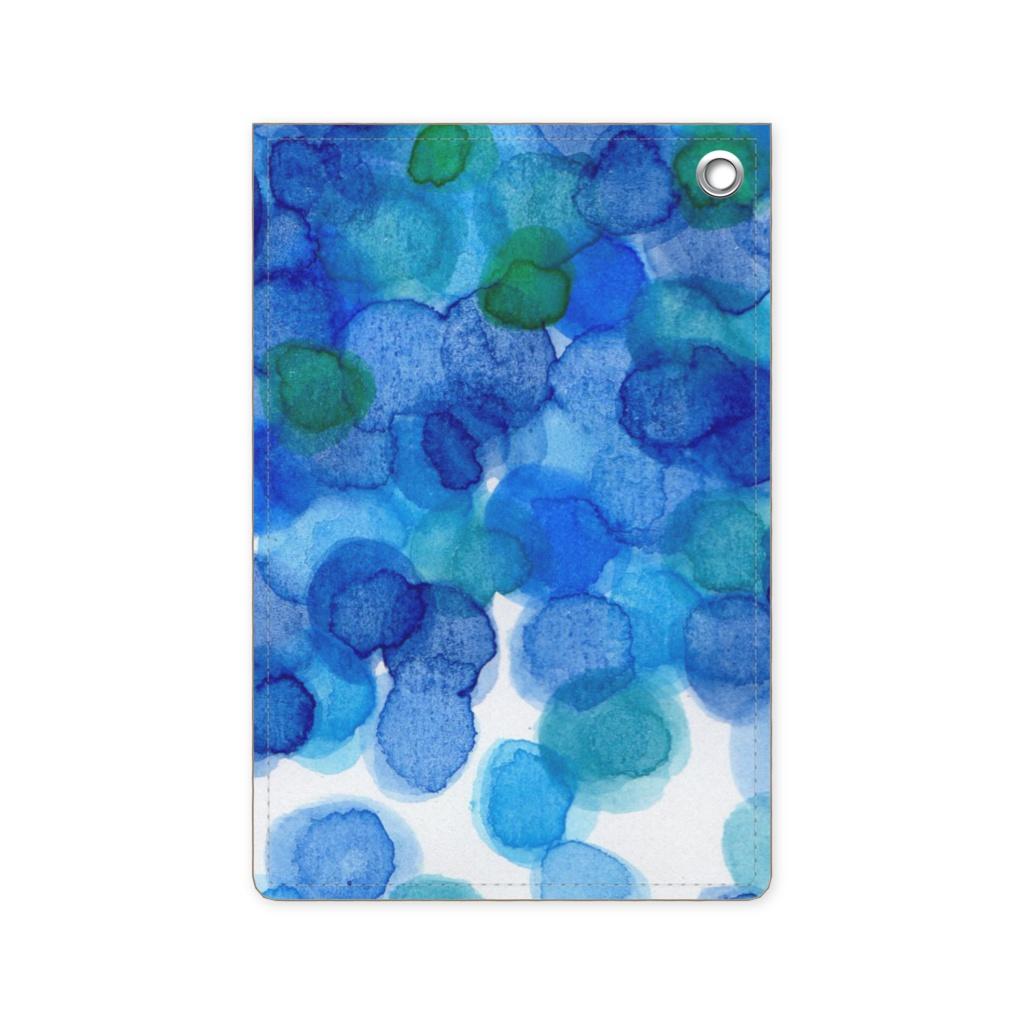 水彩パスケース 青色みずたま