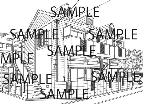 漫画背景素材「アパート2」