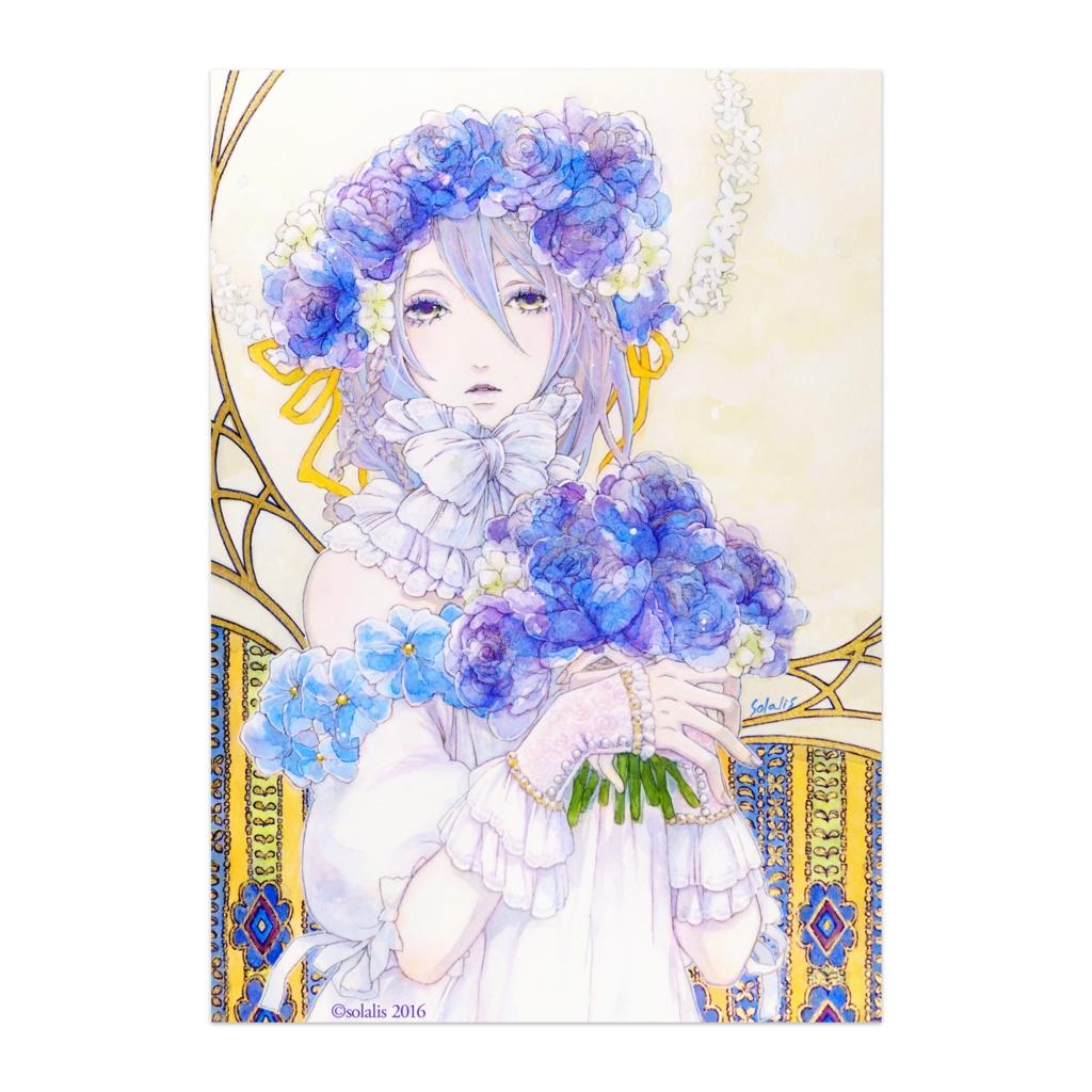 ポスター「青ばらの花飾り」