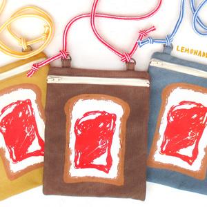 食パンイチゴジャムポシェット(ブルー/マスタード/ブラウン)