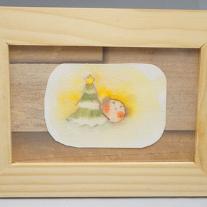水彩手描き原画◆クリスマスツリーとパッピィー◆額付き
