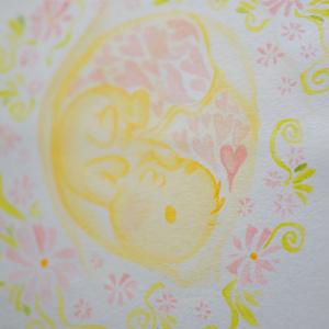 水彩手描き原画おなかの中の君。◆ポストカード