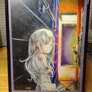 水彩色鉛筆原画イラスト(B5「朝潮戦後録」表紙)