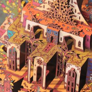 【ポップアップカード】ウルニエ城 (色付きレーザーカット版)