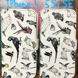 手帳型スマホカバー BIRDMIXモノクロ/カラー iPhone5/5s/SE