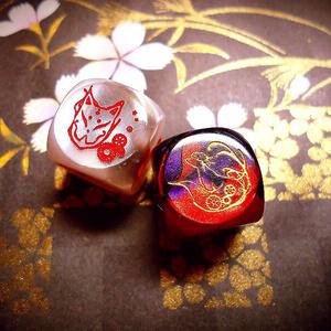 【オリジナルダイス】  狐と猫の饗宴(セット販売)