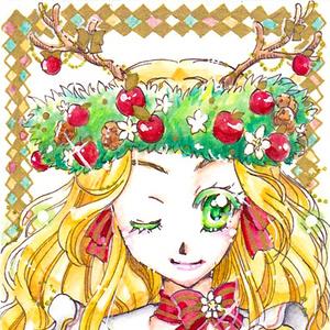 ★ATCミニ原画 リンゴとクリスマスローズ