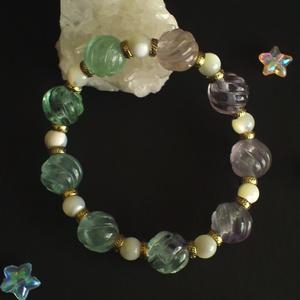 のびる天然石ブレス(ツイストカットフローライト)
