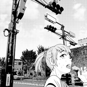 0円!写真加工背景作例「信号機と女の子」