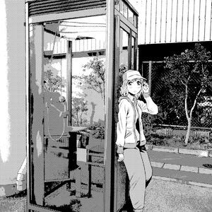 0円!写真加工背景作例「電話ボックスと女の子」