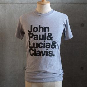 【完売】「ジョン・ポール&ルツィア&クラヴィス.」T シャツ (Heather Grey)