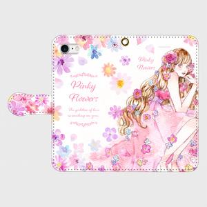 《受注生産》手帳型★iPhoneケース【Pinky Flowers】