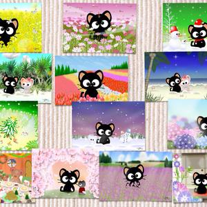 POSTCARD 黒猫りっちー君セット(13枚入り)
