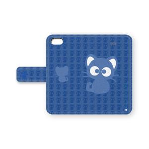 黒猫りっちー君手帳型iPhoneケース(ディープブルー)