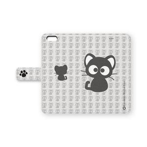 黒猫りっちー君手帳型iPhoneケース(ホワイト)