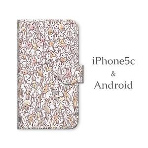 Android用 うさぴょん大集合 手帳型マルチスマホケース