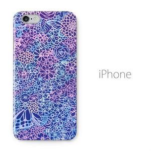 【送料無料】花畑に蝶 iPhoneケース(ハードケース全面プリント)