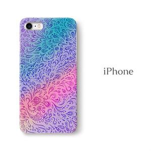 【送料無料】孔雀の羽根 iPhoneケース(ハードケース全面プリント)
