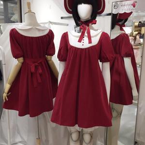 文化人形ボンネット-紅
