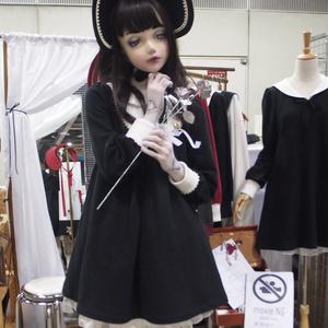 文化人形ボンネット-黒