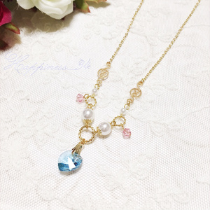 Pastel dream necklace✩スワロフスキーハートのネックレス