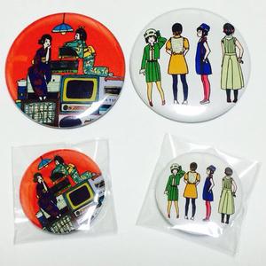 レトロファッション缶バッチ(38mm)