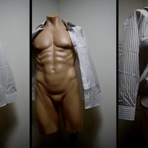 ワイシャツ・シワの描き方の資料360度【正面・アオリ】風になびく服