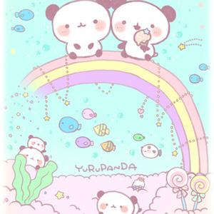ゆるぱんだと虹の海♡ポストカード