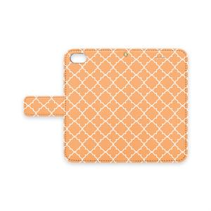 手帳型iPhoneケース スライム柄(オレンジ)