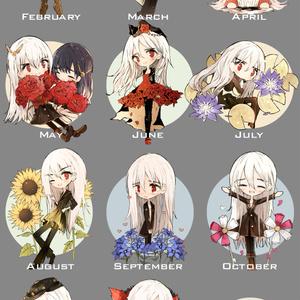 誕生花ステッカー✿2~10月