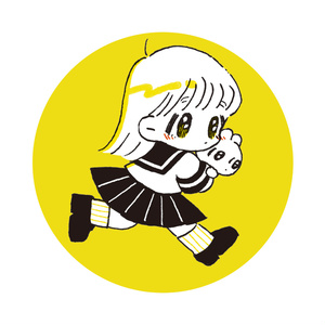 女の子とうさぎ缶バッジ