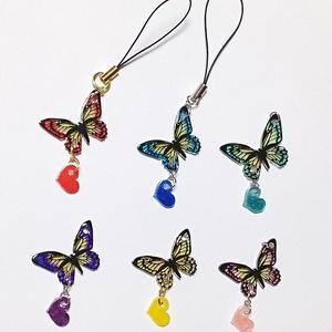 推し松カラーの蝶ストラップ(ゴールド・シルバー金具の選択可)