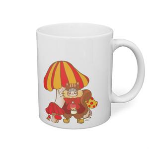 片面タイプ マグカップ リスのちょこちゃんとキノコの森