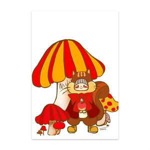 【ポストカード】 リスのちょこちゃんとキノコの森