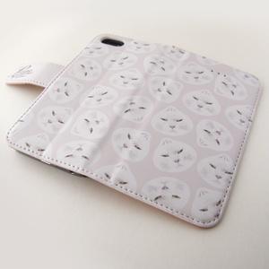 iPhone 猫の手帳型スマホケース 肉まんポンコ