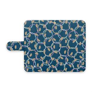 マッカチン雪輪小紋(藍色)手帳型Androidケース