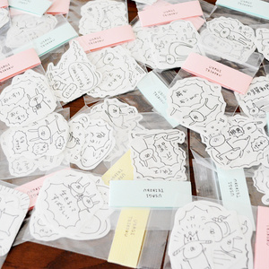 【8〜9月中入荷予定】うさぎ帝国 手描きフレークシール 10枚入り