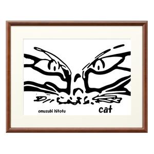 猫 268 ※版画効果・横・ブラウン