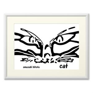 猫 268 ※版画効果・横・ホワイト