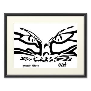 猫 268 ※版画効果・横・ブラック