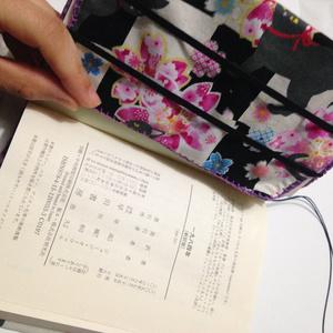 分厚い文庫も入るブックカバー(桜猫)
