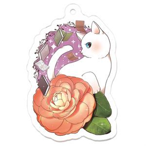 椿と白猫のアクキー