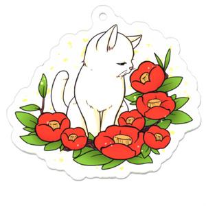 真っ赤な椿と白猫のアクキー
