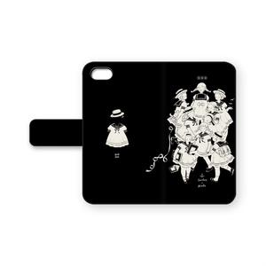 手帳型iPhoneケース セーラー(黒)
