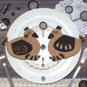 シマシマ鳥のコルクコースター