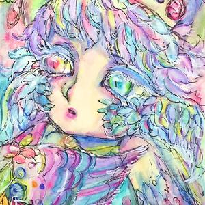 ポスカサイズ原画「宝石箱の鳥」水彩画